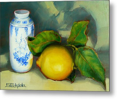 Chinese Pot And Lemon Metal Print by Margaret Stockdale