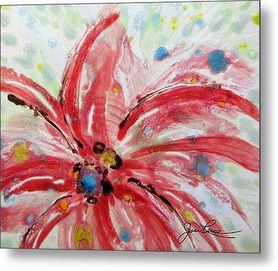 Metal Print featuring the painting Chinese Red Flower by Joan Reese