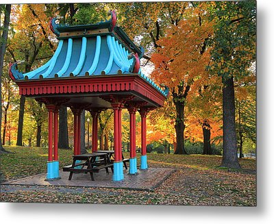Chinese Shelter In Autumn Metal Print