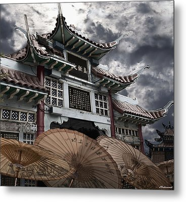 Chinese Temple Gate Metal Print by Larry Butterworth