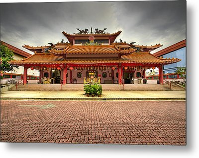 Chinese Temple Paved Square Metal Print by David Gn