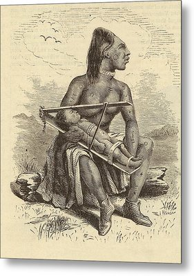 Chinook Woman And Child Metal Print by Mid-manhattan Picture Collection/new York Public Library