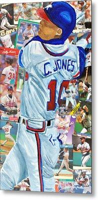 Chipper Jones 14 Metal Print by Michael Lee