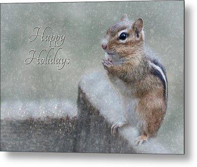 Chippy Christmas Card Metal Print by Lori Deiter