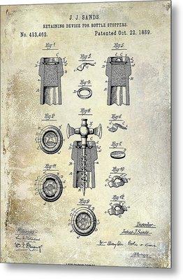 Champagne Retaining Device Patent Drawing 1889 Metal Print by Jon Neidert