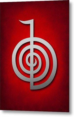 Cho Ku Rei - Silver On Red Reiki Usui Symbol Metal Print by Cristina-Velina Ion