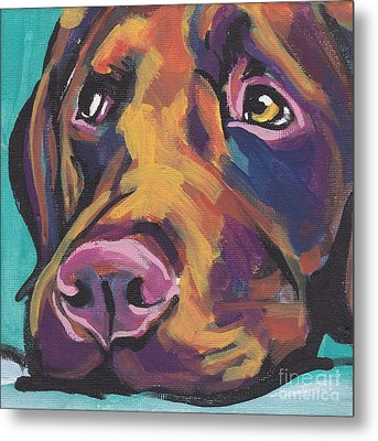 Choco Lab Love Metal Print by Lea S