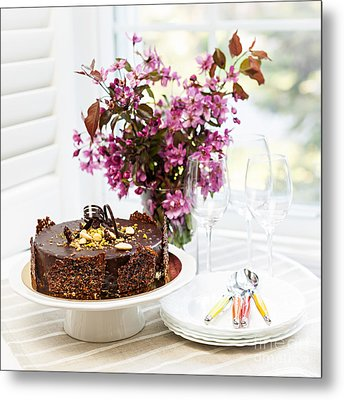 Chocolate Cake With Flowers Metal Print by Elena Elisseeva
