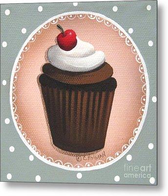 Chocolate Cherry Chip Cupcake Metal Print by Catherine Holman
