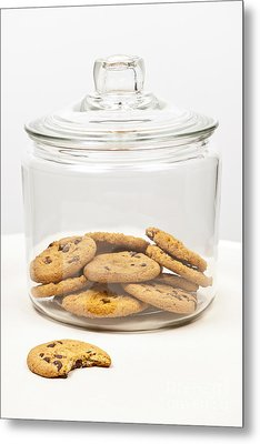 Chocolate Chip Cookies In Jar Metal Print by Elena Elisseeva