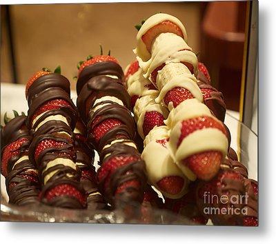 Chocolate Coated Strawberries And Bananas On Skewers Metal Print