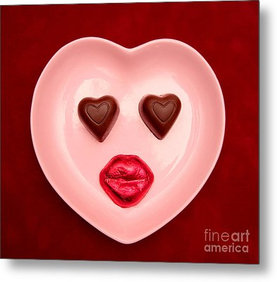 Chocolate Heart Face Metal Print
