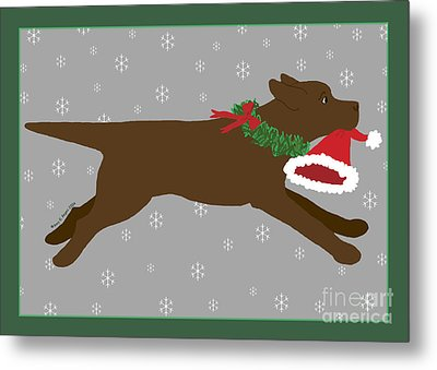 Chocolate Labrador Steals Santa's Hat Metal Print by Amy Reges
