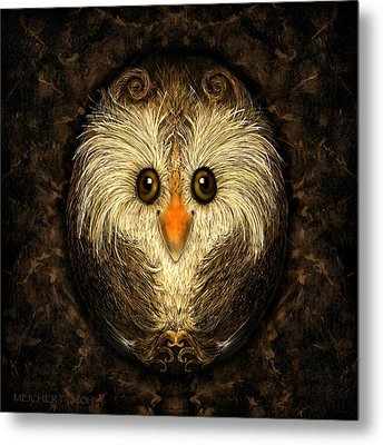 Chocolate Nested Easter Owl Metal Print