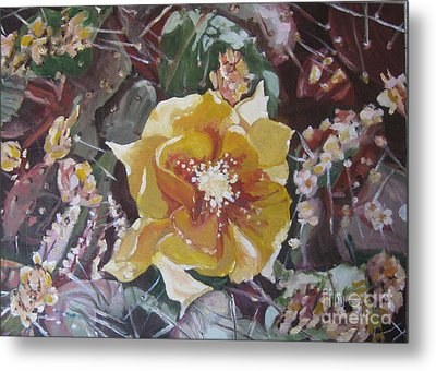 Metal Print featuring the painting Cholla Flowers by Julie Todd-Cundiff