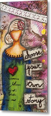 Choose Your Own Story Inspirational Mixed Media Folk Art  Metal Print