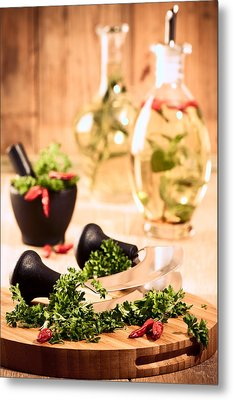 Chopping Herbs Metal Print by Amanda Elwell