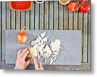Chopping Onions Metal Print by Tom Gowanlock