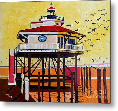 Choptank River Lighthouse Metal Print by Lesley Giles