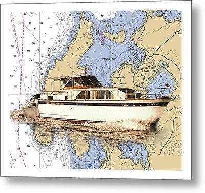 Yacht On A Chart Chris Craft San Juan Islands Chart Metal Print by Jack Pumphrey