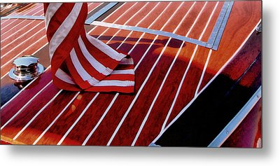 Chris Craft With American Flag Metal Print by Michelle Calkins