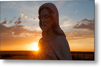 Christ And Sun Metal Print by Shirley Heier