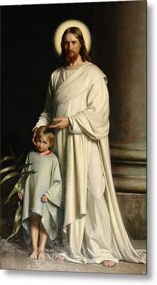 Christ And The Child Metal Print
