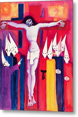 Christ And The Politicians, 2000 Acrylic On Canvas Metal Print by Laila Shawa