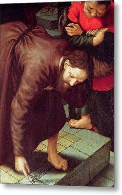 Christ And The Woman Taken In Adultery Oil On Panel Detail Of 231478 Metal Print by Jan Sanders van Hemessen