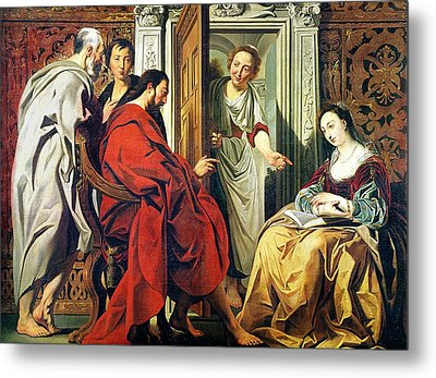 Christ At The House Of Martha And Mary Of Bethany Oil On Canvas Metal Print