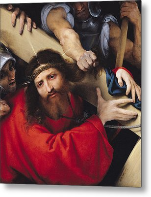 Christ Carrying The Cross, 1526 Oil On Canvas Metal Print by Lorenzo Lotto