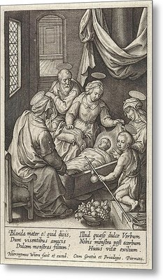 Christ Child Sleeps In The Crib, Hieronymus Wierix Metal Print by Hieronymus Wierix