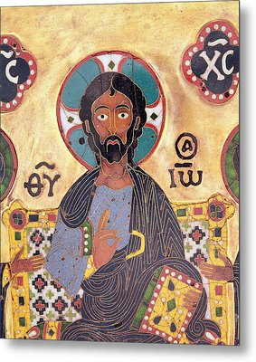 Christ Enthroned Cloisonne Enamel Metal Print