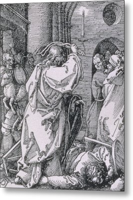 Christ Expelling The Moneychangers From The Temple Metal Print by Albrecht Durer or Duerer