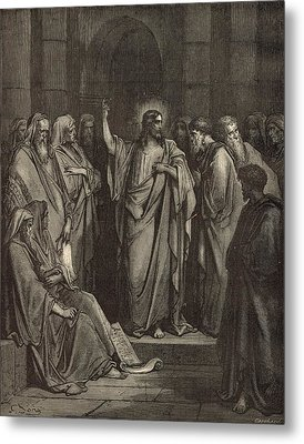 Christ In The Synagogue Metal Print by Antique Engravings