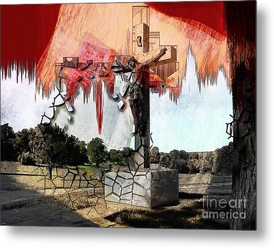 Christ On The Cross Metal Print by Liane Wright