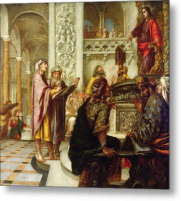 Christ Preaching In The Temple Metal Print by Juan de Valdes Leal