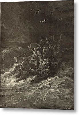 Christ Stilling The Tempest Metal Print by Antique Engravings