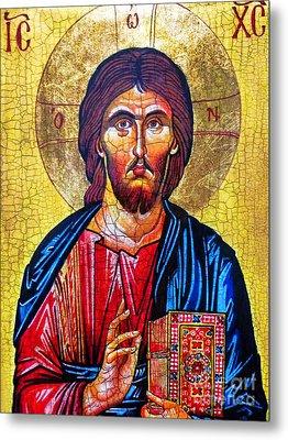 Christ The Pantocrator Icon Metal Print by Ryszard Sleczka