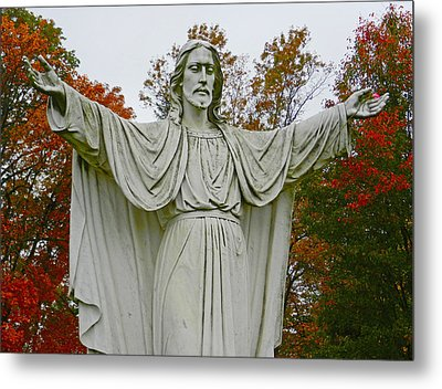Christ Welcomes You Metal Print