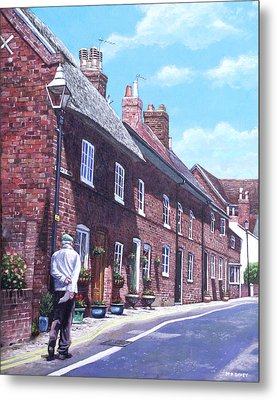 Christchurch Church Lane Metal Print by Martin Davey