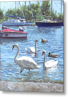 Christchurch Harbour Swans And Boats Metal Print by Martin Davey