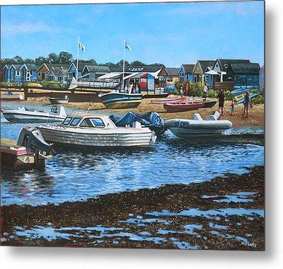 Christchurch Hengistbury Head Beach With Boats Metal Print by Martin Davey