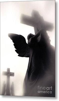 Angel With Jesus On Cross - Christian Art Cross - Spiritual Angel On Cross  Metal Print