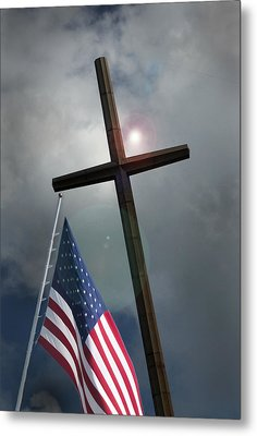 Christian Cross And Us Flag Metal Print