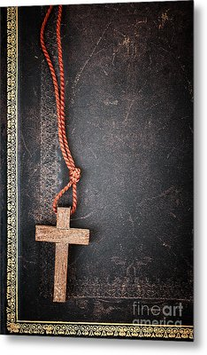 Christian Cross On Bible Metal Print