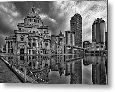 Christian Science Center Boston Bw Metal Print by Susan Candelario
