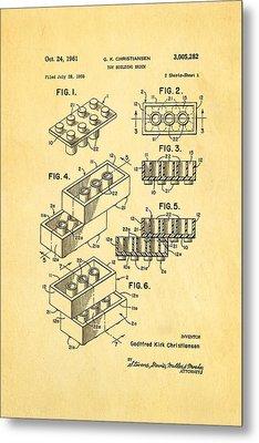 Christiansen Lego Toy Building Block Patent Art 1961 Metal Print by Ian Monk