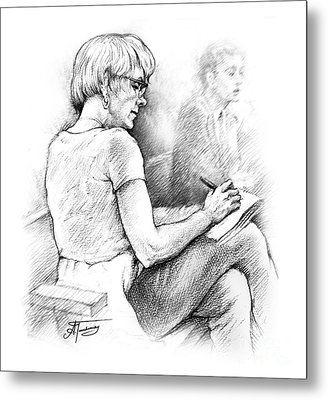 Metal Print featuring the drawing Christie Blatchford In Court by Alex Tavshunsky