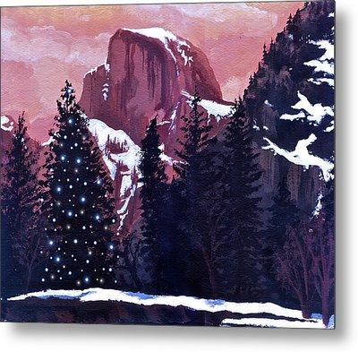 Christmas At Half Dome Metal Print by Sara Coolidge